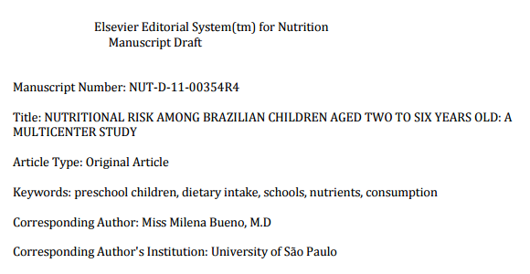 Nutritional Risk Among Brazilian Children Aged Two to Six years old: A Multicenter Study