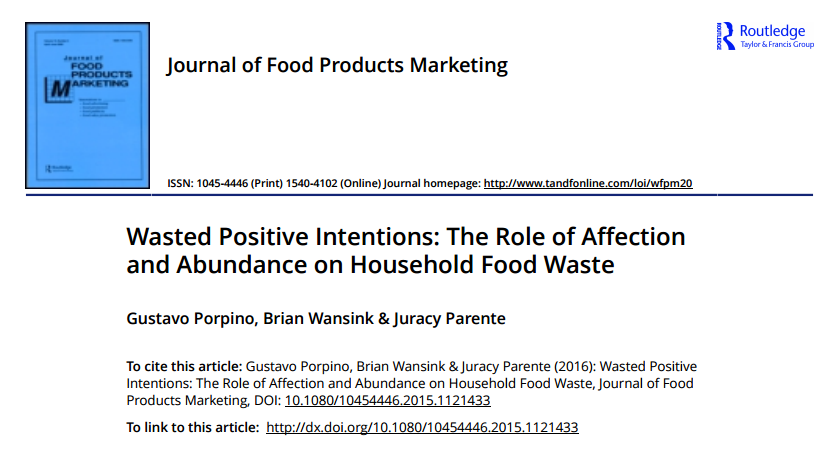 Wasted Positive Intentions: The Role of Affection and Abundance on Household Food Waste